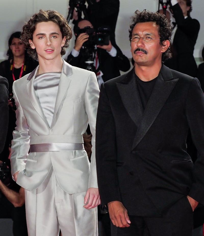 Timothée Chalamet and Haider Ackermann at the Venice Film Festival premiere of The King