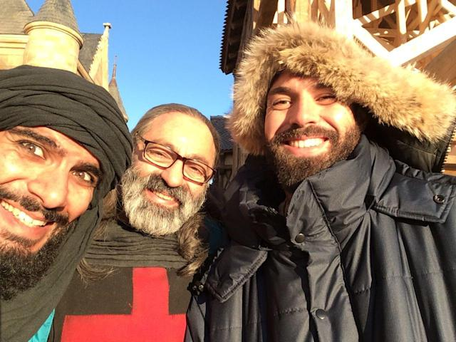 <p>A cold sunny day on our @knightfallshow sets with the awesome Akin Gazi and Nasser Memarazia. I love these guys. Nasser is the real hero of the show and turns in an amazing performance. This was the third time I'd worked with Akin, every time he blows me away. He has a very, very cool storyline. A pleasure to work and become friends with these two amazing gentlemen. — @tom_cullen #Knightfall #HISTORY<br>(Photo: Instagram) </p>