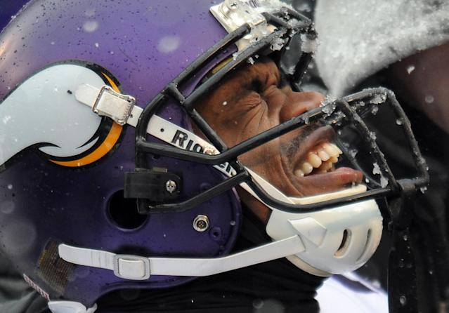 Minnesota Vikings running back Adrian Peterson reacts as he is tended to after injuring his ankle on a play in the second quarter of an NFL football game against the Baltimore Ravens, Sunday, Dec. 8, 2013, in Baltimore. (AP Photo/Gail Burton)