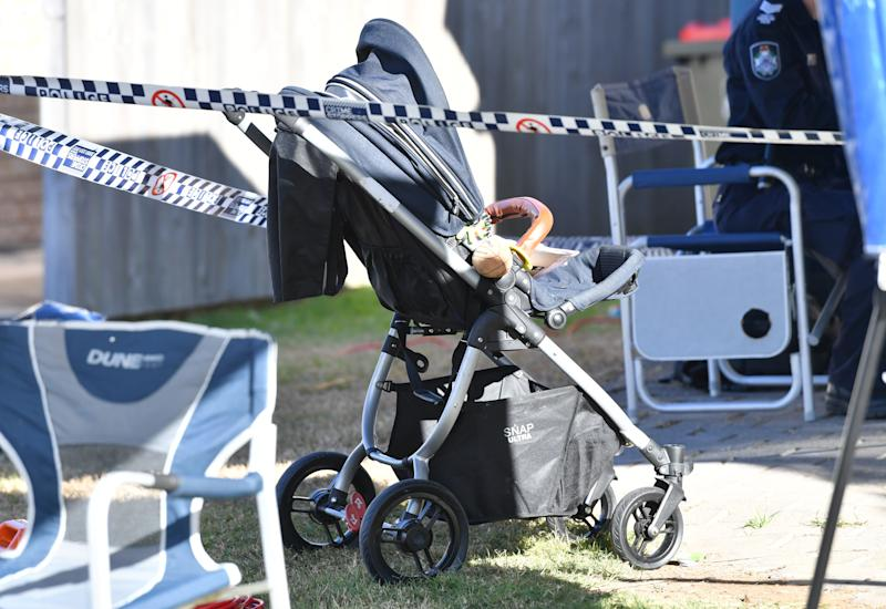 A pram is seen at the Cannon Hill property. Source: AAP