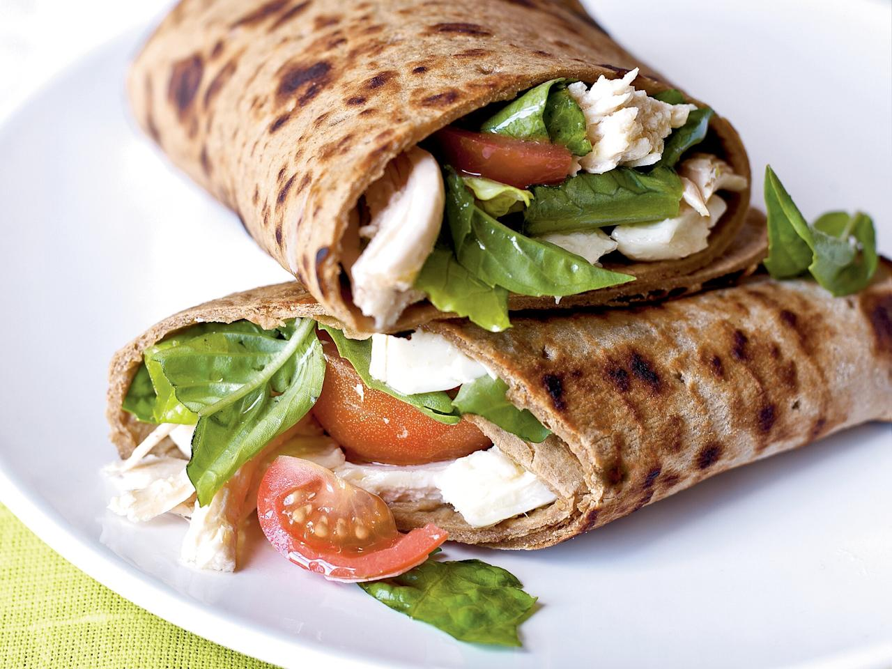 "<p>Pick up a rotisserie chicken and assemble this hearty sandwich for a quick and easy weeknight meal.</p> <p><a href=""https://www.myrecipes.com/recipe/caprese-wraps-with-chicken"">Caprese Wraps with Chicken Recipe</a></p>"