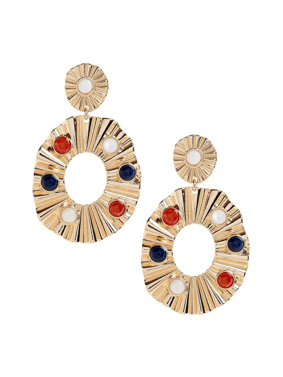 <p>Pair these <span>Banana Republic Crinkle Oval Earrings</span> ($58) with a black turtleneck and red lipstick for an 80s power dressing vibe!</p>