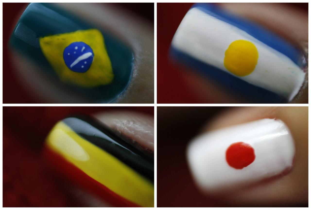 Combo picture of nails painted with designs of flags of countries that will participate in the 2014 World Cup in Rio de Janeiro May 29, 2014. The World Cup will be held in 12 cities in Brazil from June 12 till July 13. Picture taken May 29, 2014. REUTERS/Pilar Olivares (BRAZIL - Tags: SPORT SOCCER WORLD CUP SOCIETY TPX IMAGES OF THE DAY)