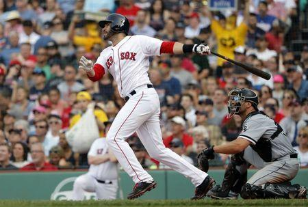 Jun 9, 2018; Boston, MA, USA; Boston Red Sox right fielder J.D. Martinez (28) follows through on his two-run home run against the Chicago White Sox during the fifth inning at Fenway Park. Mandatory Credit: Winslow Townson-USA TODAY Sports