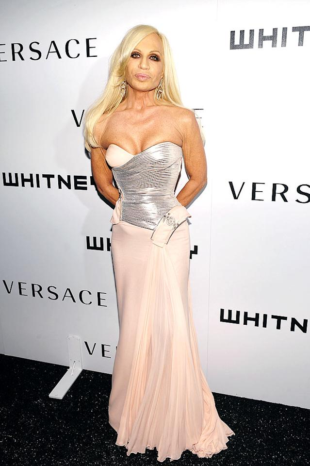 "Donatella Versace looked like she could barely breathe in her form-fitting strapless gown. Dimitrios Kambouris/<a href=""http://www.wireimage.com"" target=""new"">WireImage.com</a> - October 19, 2009"