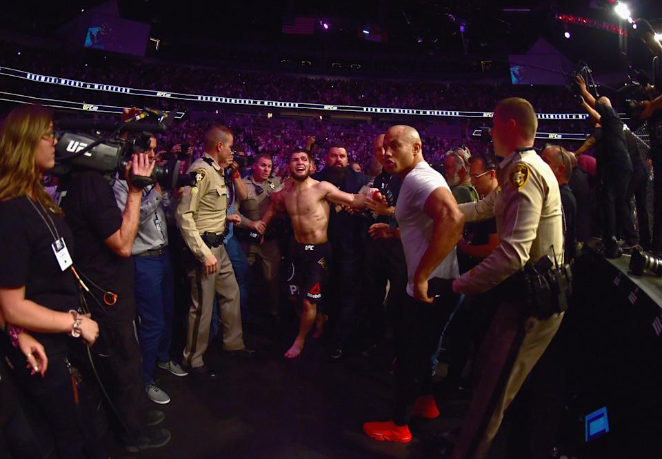 Khabib Nurmagomedov and Conor McGregor are facing official complaints amid an investigation into the brawl after Nurmagomedov's win at UFC 229 on Saturday in Las Vegas. (Getty Images)