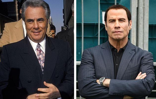 John Travolta (R) has rubbished claims his upcoming movie about mobster John Gotti (L) has been dumped. Source: Getty