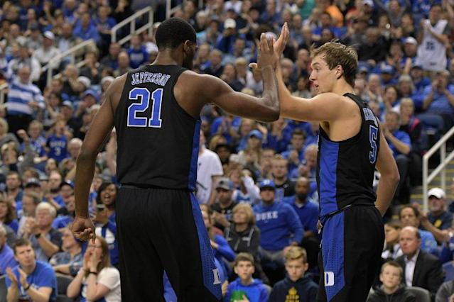 """<a class=""""link rapid-noclick-resp"""" href=""""/ncaab/players/131408/"""" data-ylk=""""slk:Luke Kennard"""">Luke Kennard</a> and <a class=""""link rapid-noclick-resp"""" href=""""/ncaab/players/116520/"""" data-ylk=""""slk:Amile Jefferson"""">Amile Jefferson</a> have Duke as the team to beat in the ACC, if not in all of college basketball. (Getty)"""