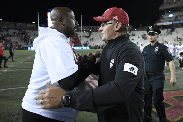 Indiana head coach Tom Allen, right, shakes hands with Maryland head coach Mike Locksley, left, after an NCAA college football game, Saturday, Oct. 19, 2019, in College Park, Md. (AP Photo/Nick Wass)