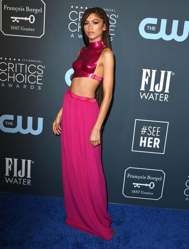 The actor had a fashion moment in a hot-pink breastplate at the Critics' Choice Awards in January, 2020. (Getty Images)