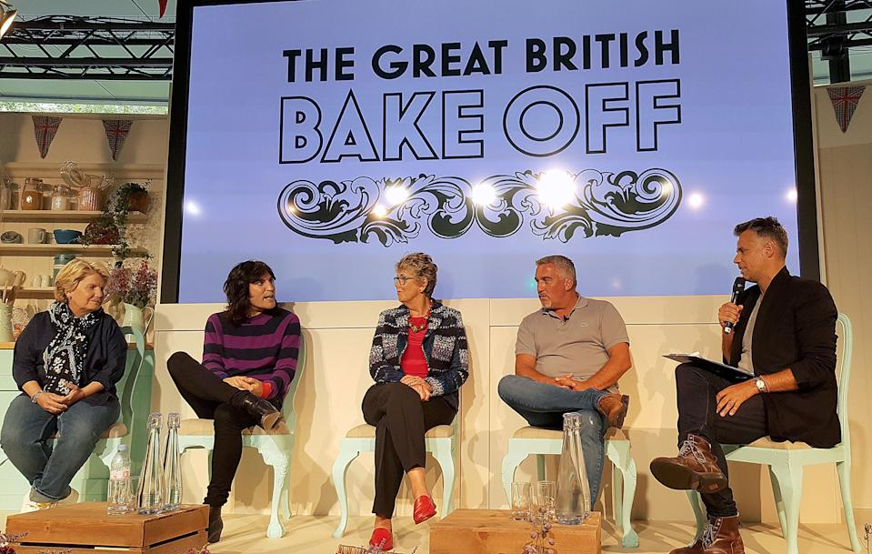 Embargoed to 0001 Tuesday August 22 Richard Bacon (right) with judges and presenters for The Great British Bake Off (left to right) Sandi Toksvig, Noel Fielding, Prue Leith and Paul Hollywood at Channel 4 studios in central London.