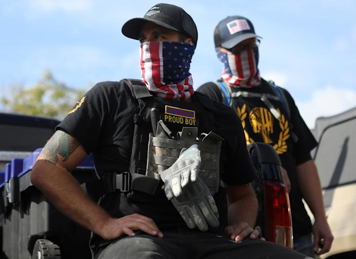 Members of the far-right group Proud Boys attend a rally in Portland, Ore., Sept. 26. (Jim Urquhart/Reuters)