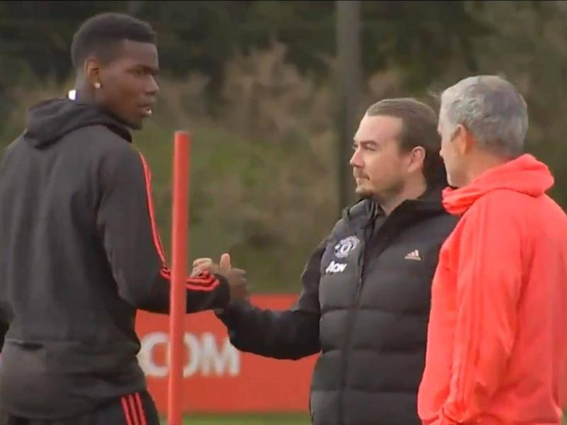 Pogba and Mourinho were caught in a tense exchange at training (Getty)