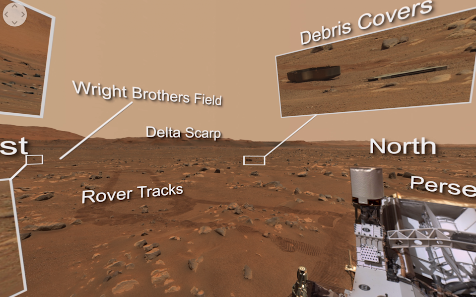 NASA's Perseverance Mars rover looks out on the Martian surface.