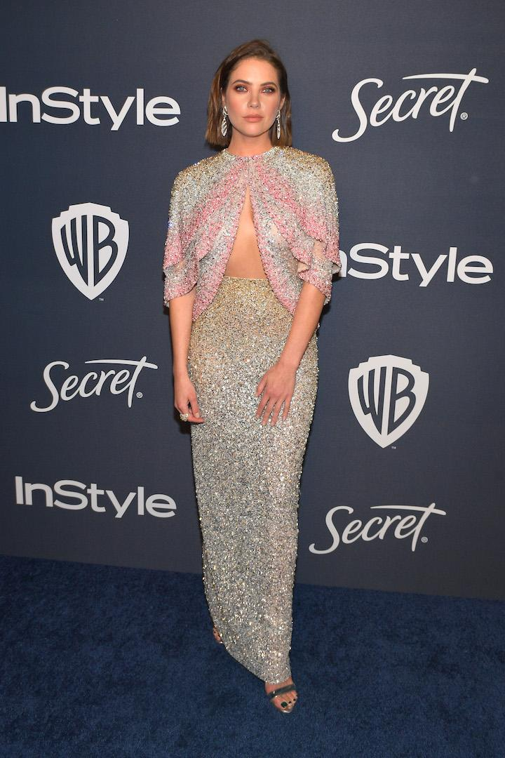 Wearing a sequinned cut-out dress by Georges Hobeika. <em>[Photo: Getty]</em>