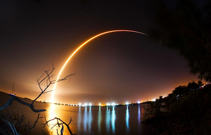 """This is a 155 second time exposure of the SpaceX Falcon 9 rocket launching from Cape Canaveral Air Force Station's Launch Complex 40, Feb. 21, 2019. The rocket is carrying an Indonesian Nusantara Satu communications satellite and a secondary payload, the SpaceIL and Israel Aerospace Industries lunar lander named Beresheet, or """"in the beginning"""" in Hebrew. That lander will will take about two months to reach lunar orbit before attempting to touch down on the moon."""