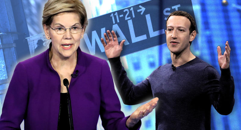 Sen. Elizabeth Warren, Facebook CEO Mark Zuckerberg and Wall Street. (Photo illustration: Yahoo News; photos: AP, Marcio Jose Sanchez/AP, Getty Images)
