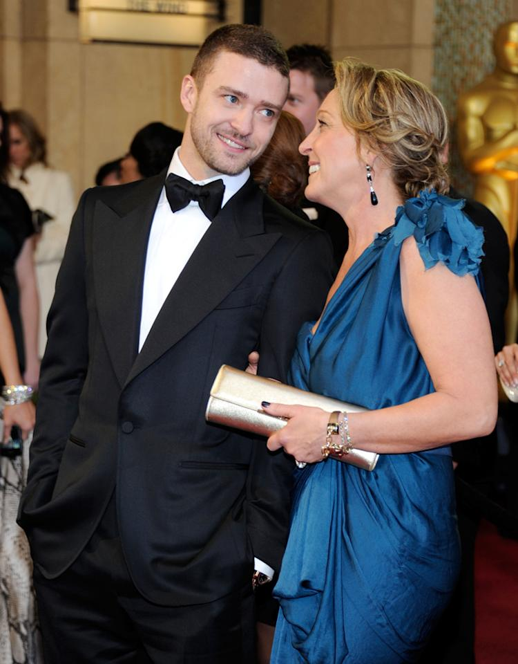 HOLLYWOOD, CA - FEBRUARY 27:  Actor/singer Justin Timberlake (R) and mother Lynn Harless arrive at the 83rd Annual Academy Awards held at the Kodak Theatre on February 27, 2011 in Hollywood, California.  (Photo by Ethan Miller/Getty Images) *** Local Caption *** Justin Timberlake;Lynn Harless