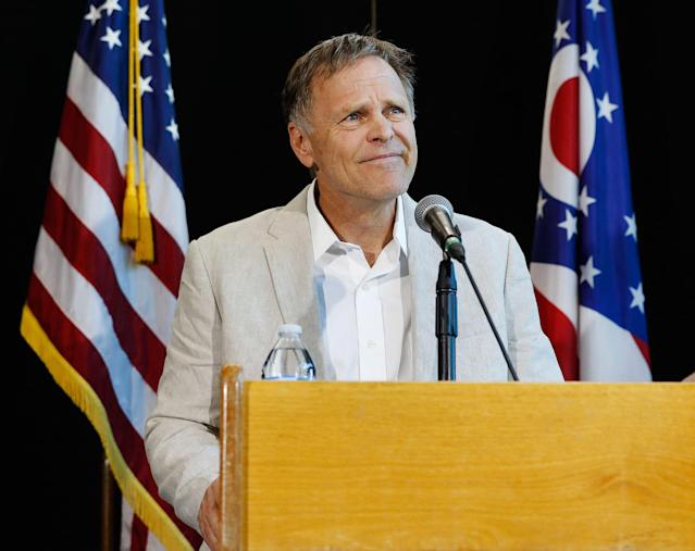 <p>Fred Warmbier, father of Otto Warmbier, a University of Virginia undergraduate student who was imprisoned in North Korea in March 2016, speaks during a news conference, Thursday, June 15, 2017, at Wyoming High School in Cincinnati, Ohio. (Photo: John Minchillo/AP) </p>