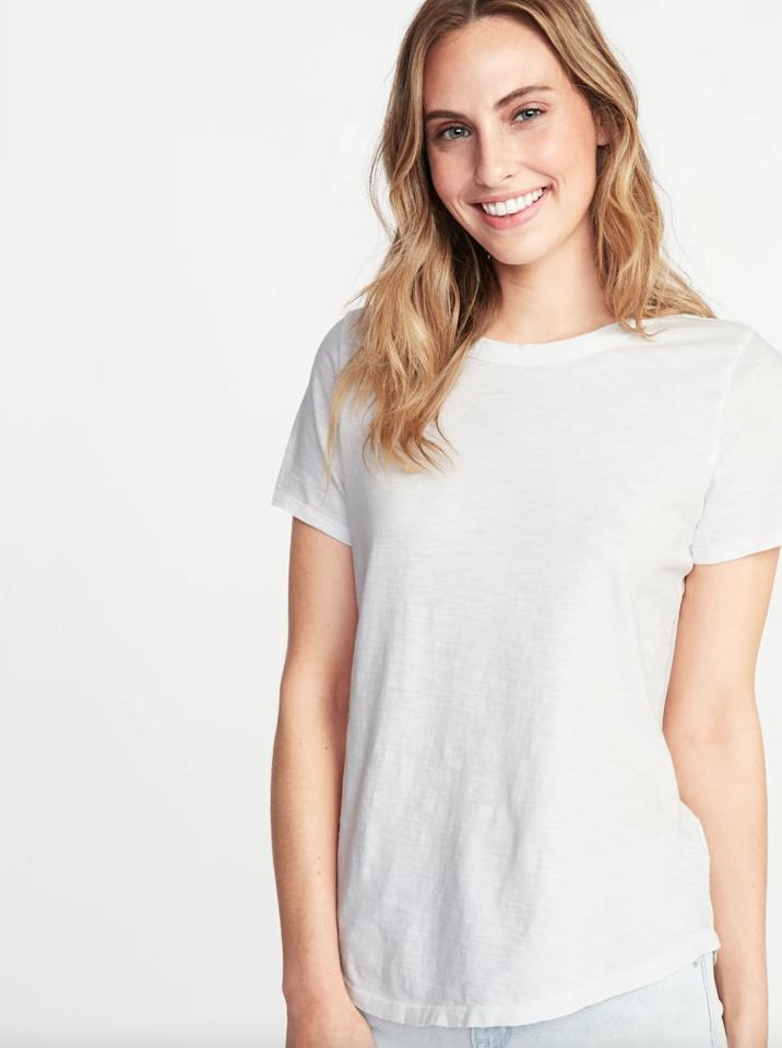 """<p>This <a href=""""https://www.popsugar.com/buy/Old-Navy-EveryWear-Slub-Knit-Tee-548770?p_name=Old%20Navy%20EveryWear%20Slub-Knit%20Tee&retailer=oldnavy.gap.com&pid=548770&price=7&evar1=fab%3Aus&evar9=47214670&evar98=https%3A%2F%2Fwww.popsugar.com%2Ffashion%2Fphoto-gallery%2F47214670%2Fimage%2F47214681%2FOld-Navy-EveryWear-Slub-Knit-Tee&list1=shopping%2Ct-shirts%2Cold%20navy%2Ceditors%20pick%2Ctops%2Cfashion%20shopping%2Caffordable%20shopping&prop13=api&pdata=1"""" rel=""""nofollow"""" data-shoppable-link=""""1"""" target=""""_blank"""" class=""""ga-track"""" data-ga-category=""""Related"""" data-ga-label=""""https://oldnavy.gap.com/browse/product.do?pid=391191022#pdp-page-content"""" data-ga-action=""""In-Line Links"""">Old Navy EveryWear Slub-Knit Tee</a> ($7, originally $13) comes in a wine-red hue as well if you're looking for more color.</p>"""