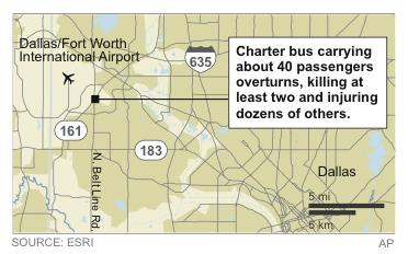 2 killed, dozens injured in bus crash near Dallas