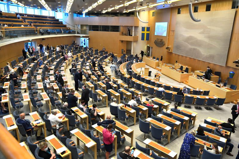Swedish parliament members arrive for the no-confidence vote against Prime Minister Stefan Lofven, in Stockholm