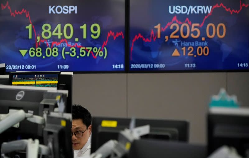 A currency dealer works in front of electronic boards showing the Korea Composite Stock Price Index (KOSPI) and the exchange rate between the U.S. dollar and South Korean won, at a dealing room of a bank in Seoul