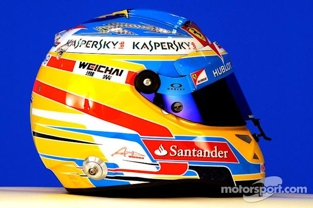 "Casco de Fernando Alonso en 2014 <span class=""copyright"">Ferrari Media Center</span>"