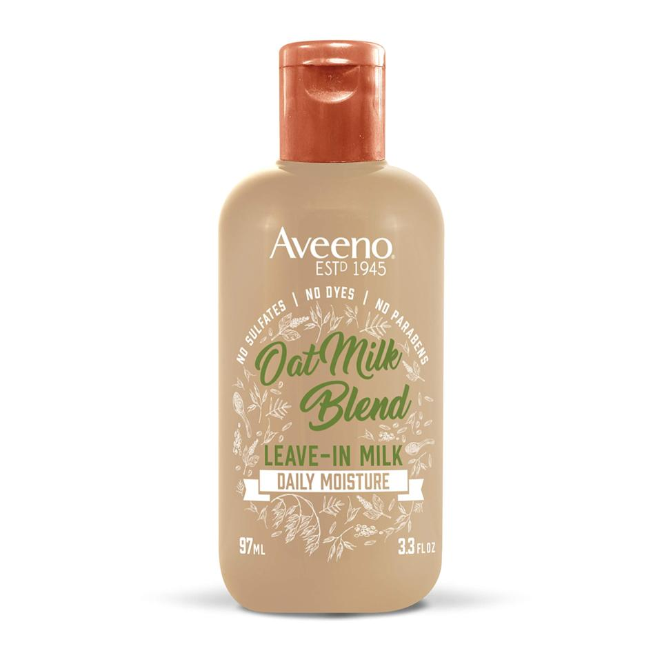 """<h3>Aveeno Hydrating Oat Milk Leave-In Milk Hair Treatment</h3><br>Aveeno's hero ingredient is soothing colloidal oatmeal, so it should come as no surprise that they've infused a milked version into a range of hair products, including this ultra-nourishing leave-in. <br><br><strong>Aveeno</strong> Hydrating Oat Milk Leave-In Milk Hair Treatment, $, available at <a href=""""https://amzn.to/31JTzaa"""" rel=""""nofollow noopener"""" target=""""_blank"""" data-ylk=""""slk:Amazon"""" class=""""link rapid-noclick-resp"""">Amazon</a>"""