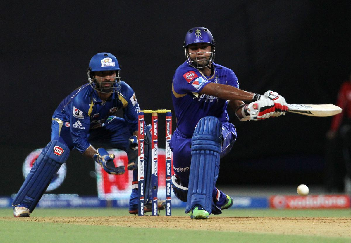 Rajasthan Royals player Stuart Binny plays a shot during match 66 of the Pepsi Indian Premier League ( IPL) 2013  between The Mumbai Indians and the Rajasthan Royals held at the Wankhede Stadium in Mumbai on the 15th May 2013 ..Photo by Vipin Pawar-IPL-SPORTZPICS ..Use of this image is subject to the terms and conditions as outlined by the BCCI. These terms can be found by following this link:..https://ec.yimg.com/ec?url=http%3a%2f%2fwww.sportzpics.co.za%2fimage%2fI0000SoRagM2cIEc&t=1506340971&sig=h27seDILARX.x8FOjU0XqQ--~D