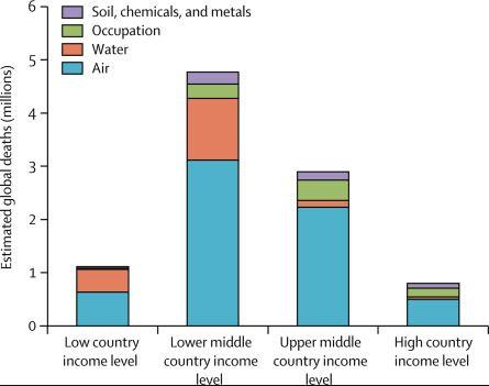 Lower middle-income countries bear the greatest economic and humanitarian burden from pollution.