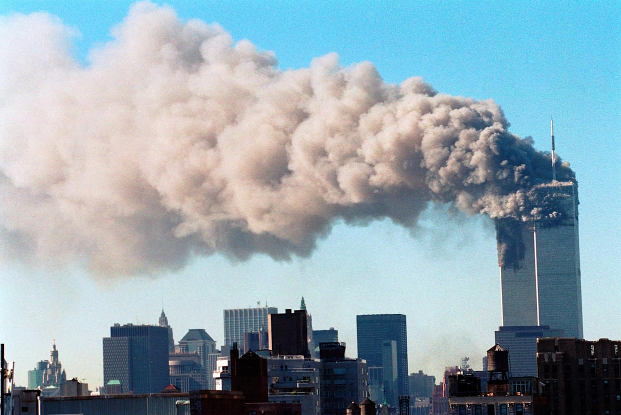 From Brook Lapping  9/11: LIFE UNDER ATTACK Tuesday 7th September 2021 on ITV   Pictured: World Trade Center, New York City terrorist attack, September 11, 2001.  Marking the 20th anniversary of September 11, '9/11: Life Under Attack' presents a unique and compelling account of the day that changed the modern world. Featuring never seen before footage, and rare audio, this compelling documentary unveils an intimate portrayal of the events of 9/11 as captured by ordinary people who chose to pick up their cameras and get close to the action that fateful day. Told in the moment, without interview, commentary or narration this riveting documentary weaves together the personal video diaries of a dozen people whose accounts provide a raw and unfiltered telling of 9/11 capturing their confusion, comprehension, terror and relief.    (C) PCN Photography / Alamy Stock Photo  For further information please contact Peter Gray Peter.gray@itv.com   This photograph is © PCN Photography / Alamy Stock Photo and can only be reproduced for editorial purposes directly in connection with the  programme 9/11: LIFE UNDER ATTACK or ITV. Once made available by the ITV Picture Desk, this photograph can be reproduced once only up until the Transmission date and no reproduction fee will be charged. Any subsequent usage may incur a fee. This photograph must not be syndicated to any other publication or website, or permanently archived, without the express written permission of ITV Picture Desk. Full Terms and conditions are available on the website www.itv.com/presscentre/itvpictures