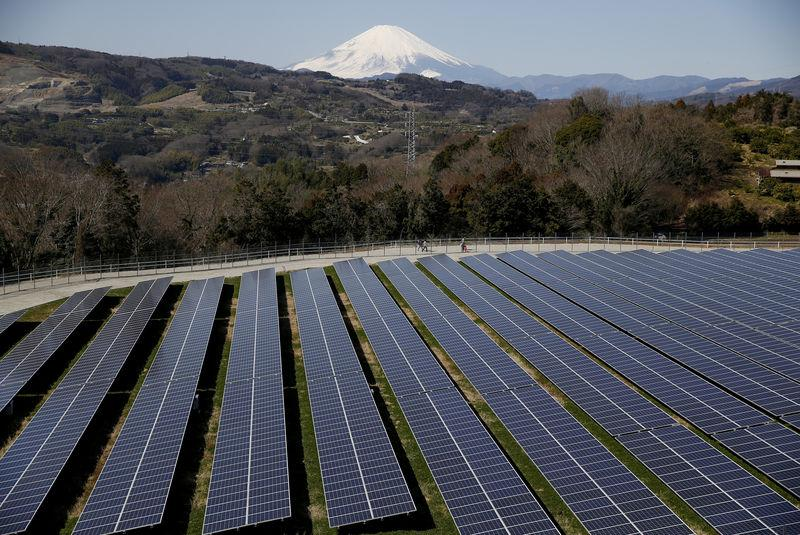 FILE PHOTO: Solar panels are seen at a solar power facility as snow covered Mount Fuji is background in Nakai town, Japan