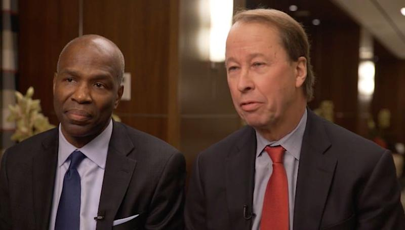 Jim Runcie (L), executive director of the Education Finance Institute, and Tony James, executive vice chairman of The Blackstone Group, support income share agreements as an alternative to traditional student loans.