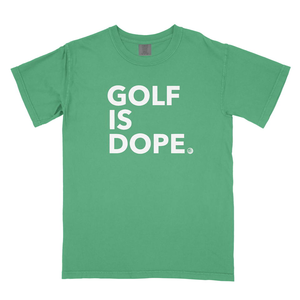 """<p><strong>Trap Golf</strong></p><p>trapgolf.com</p><p><strong>$28.00</strong></p><p><a href=""""https://www.trapgolf.com/tees/the-green-golf-is-dope-tee"""" rel=""""nofollow noopener"""" target=""""_blank"""" data-ylk=""""slk:Shop Now"""" class=""""link rapid-noclick-resp"""">Shop Now</a></p><p>This brand aims to unify people of all ages and backgrounds who love golf together, through their graphic and motto tees. This shirt also comes in white, gray and black. </p>"""