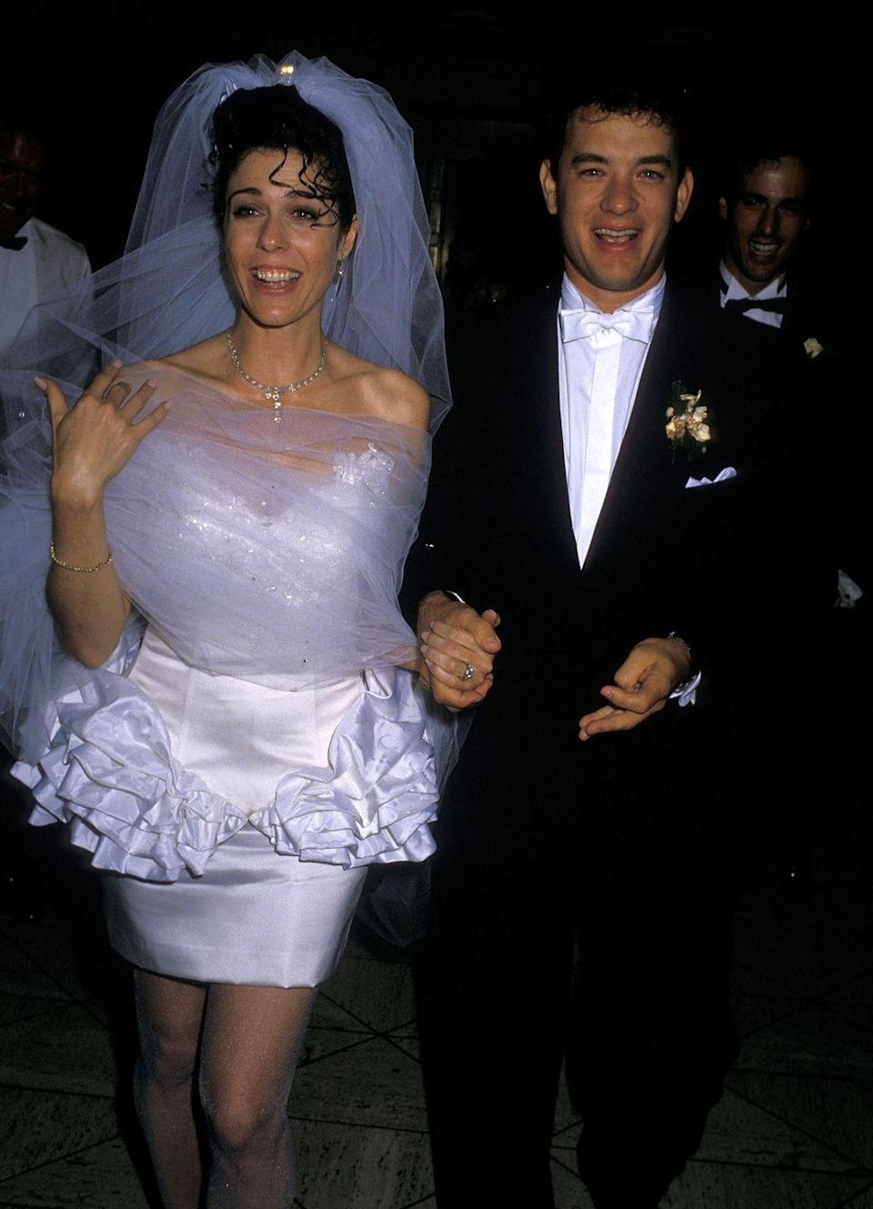 <p>The longevity of Rita Wilson and Tom Hanks's 30-year marriage is one of the most impressive in Hollywood. Hanks first set eyes on Wilson when he was 16 and watched her in an episode of <em>The Brady Bunch</em> in 1972. But they didn't actually meet until 1981, on the set of the ABC comedy <em>Bosom Buddie</em><em>s</em>. After Hanks divorced his first wife in 1987, the two married on April 30, 1988, at Rex's in Los Angeles, California, and have been together ever since.</p>