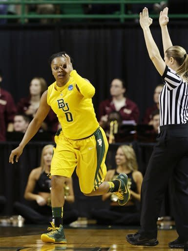 Baylor guard Odyssey Sims (0) celebrates after sinking a 3-pointer in the first half of a second-round game against Florida State in the women's NCAA college basketball tournament, Tuesday, March 26, 2013, in Waco, Texas. (AP Photo/Tony Gutierrez)