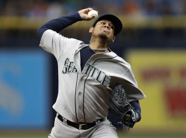 Seattle Mariners starting pitcher Felix Hernandez delivers to the Tampa Bay Rays during the first inning of a baseball game Saturday, June 9, 2018, in St. Petersburg, Fla. (AP Photo/Chris O'Meara)