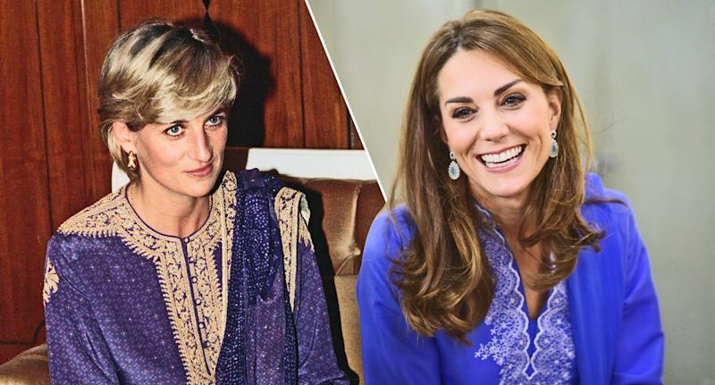 Like Princess Diana (pictured in 1997), Kate Middleton opted for a purple kurta during her Pakistan visit. (Photos: Getty Images)