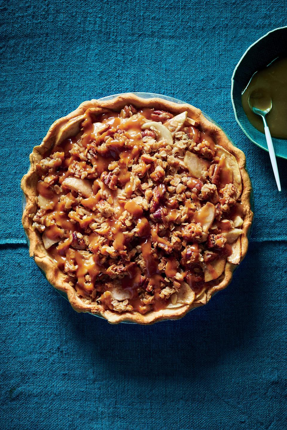 """<p>You've no doubt heard of--and enjoyed--salted caramel. Miso caramel takes that concept one step further, offering depth and richness that's unparalleled. Even though this pie is rather decadent, it still comes in with 12g less sugar than a popular online version of caramel-apple pie.</p> <p><a href=""""https://www.myrecipes.com/recipe/miso-caramel-apple-pie"""" rel=""""nofollow noopener"""" target=""""_blank"""" data-ylk=""""slk:Miso Caramel-Apple Pie Recipe"""" class=""""link rapid-noclick-resp"""">Miso Caramel-Apple Pie Recipe</a></p>"""