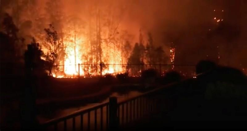 A fire rages on in Rainbow Flat, New South Wales, Australia