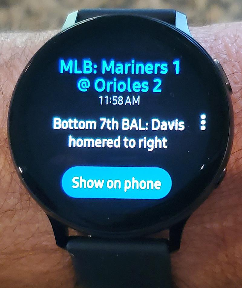 The CBS Sports app on the Samsung smartwatch