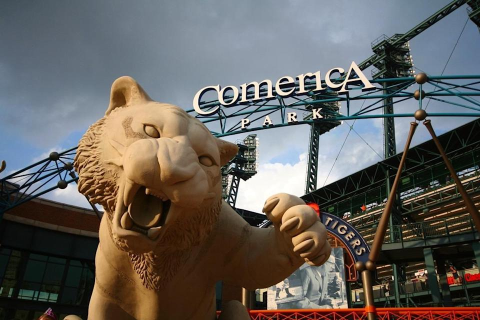 Tiger in front of Comerica Park home of the Detroit Tigers of Major League Baseball in downtown Detroit