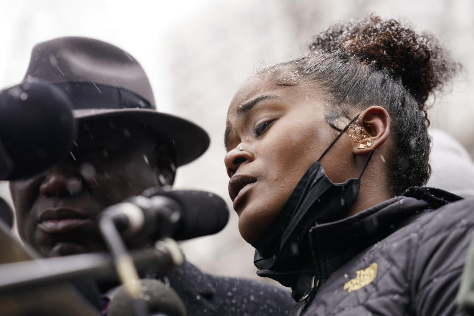Chyna Whitaker speaks during a news conference, Tuesday, April 13, 2021, in Minneapolis. The father of her son, Daunte Wright, 20, was shot and killed by police Sunday after a traffic stop in Brooklyn Center, Minn. (AP Photo/John Minchillo)