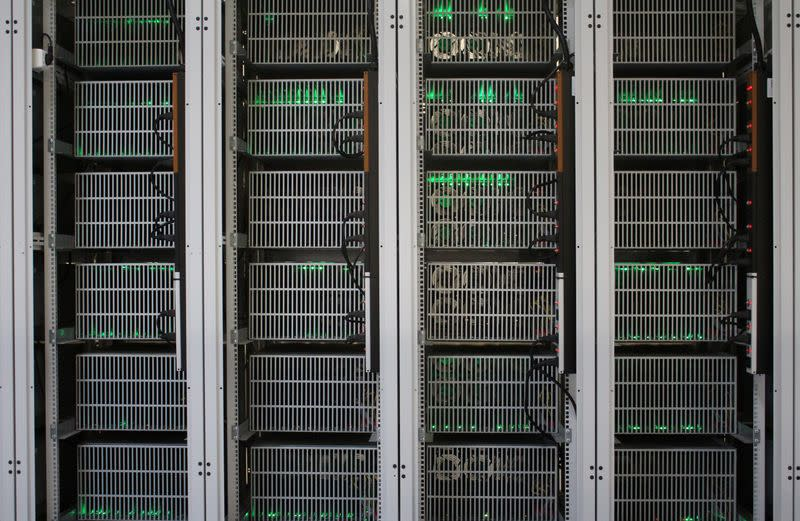 FILE PHOTO: Bitcoin mining computers are pictured in Bitfury's mining farm near Keflavik
