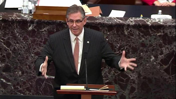 Attorney Bruce Castor, representing and defending former President Donald Trump, addresses the U.S. Senate as it begins the second impeachment trial of former president on February 9, 2021. / Credit: Senate TV / Reuters
