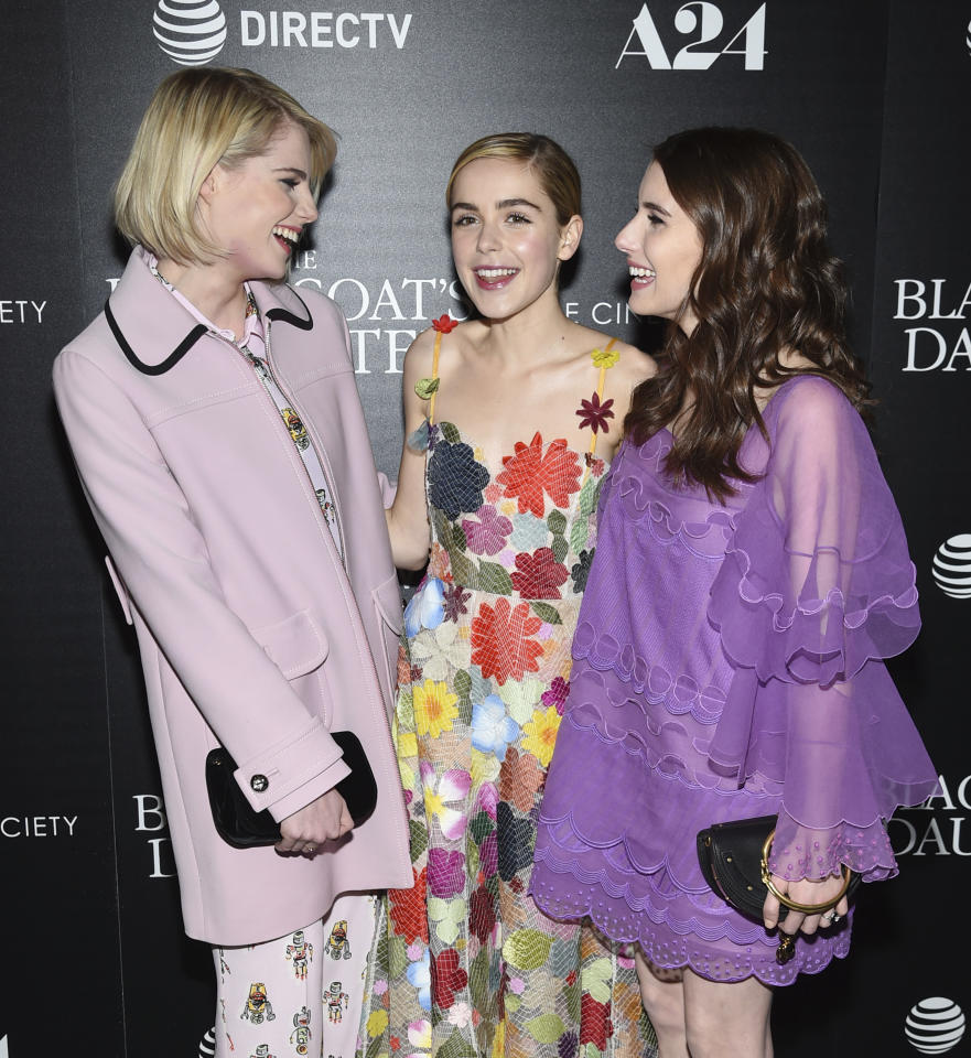 "Actors Lucy Boynton, left, Kiernan Shipka and Emma Roberts attend a special screening of ""The Blackcoat's Daughter"", hosted by A24 and DirecTV, at Landmark Sunshine Cinema on Wednesday, March 22, 2017, in New York. (Photo by Evan Agostini/Invision/AP)"