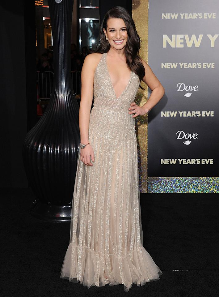"""<a href=""""http://movies.yahoo.com/movie/contributor/1809577613"""">Lea Michele</a> at the Los Angeles premiere of <a href=""""http://movies.yahoo.com/movie/1810219047/info"""">New Year's Eve</a> on December 5, 2011."""