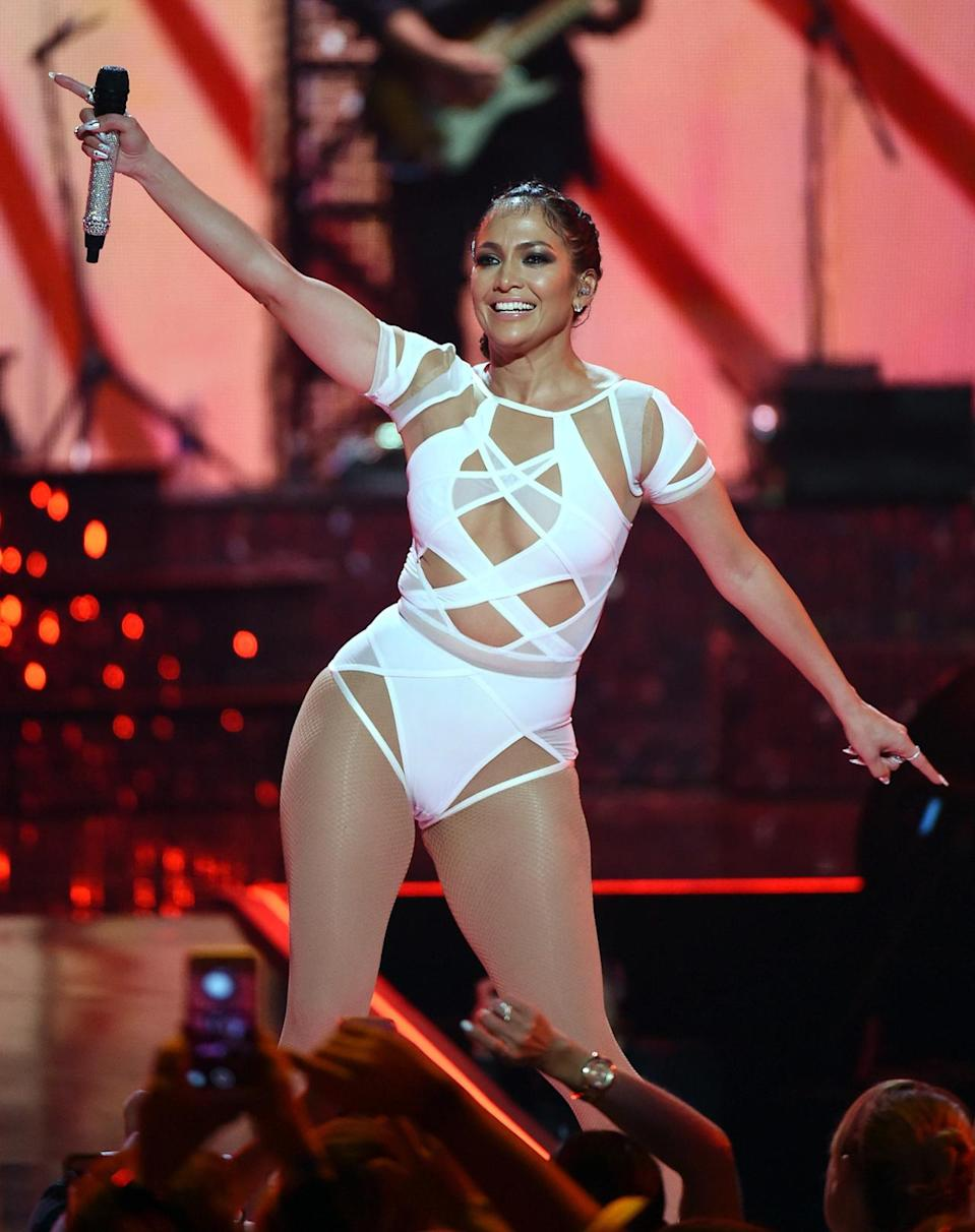 """<p>J. Lo, who was born in the Bronx, N.Y. to Puerto Rican parents, has had 10 top 10 hits, including four No. 1s: """"If You Had My Love,"""" """"I'm Real,"""" """"Ain't It Funny"""" and """"All I Have."""" (That's more No. 1s than any other Latin/pop crossover star). Ja Rule was featured on both """"I'm Real"""" and """"Ain't It Funny."""" LL Cool J was featured on """"All I Have."""" (Photo: Ethan Miller/Getty Images for iHeartMedia)<br></p>"""
