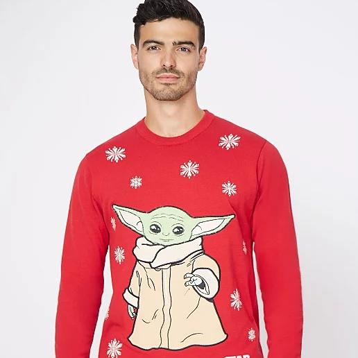 Star Wars The Mandalorian The Child Red Christmas Jumper